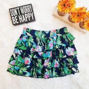 Aeropostale Floral Trop Tiered Skirt Large#z90